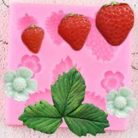 Strawberry Silicone Molds Flower Leaf Fondant Wedding Cake Decoration Tools
