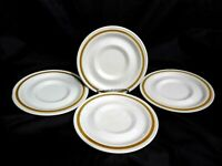 SET OF 4 HIGHLAND FLORALS COLLECTION GENUINE STONEWARE BROWN BAND SAUCERS 6""