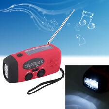 Emergency Hand Crank Generator Solar AM/FM/WB Radio Flashlight Charger Red CN