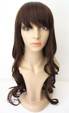 NEW Long Wavy Curly Brown Brunette Wig Heat Resistant Halloween Cosplay Costume