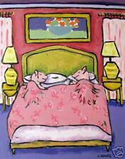 pink pig bedroom art  abstract folk pop ART  4x6  cute MODERN GLOSSY PRINT