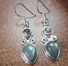 Labradorite Double Gemstone 925 Sterling Silver Dangle Earrings Corona Sun