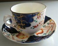 Gaudy Welsh Tulip Pattern Tea Cup & Saucer Cobalt Blue Rare Antique (1820-1860)