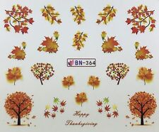 Nail Art Water Decals Happy Thanksgiving Fall Autumn Trees Leaves BN364