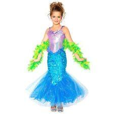 MERMAID DELUXE BLING COSTUME Sequins Glitter + SEAWEED BOA ~ Little Girl S-4/5/6