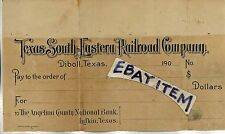 1908 Diboll TEXAS SOUTH EASTERN RAILROAD COMPANY Lufkin NATIONAL BANK check