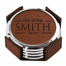 Custom Engraved Leather Drink Coasters - Housewarming Round Coaster Gift