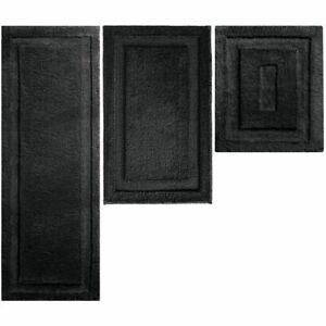 mDesign Soft Microfiber Polyester Bathroom Spa Mat Rugs/Runner, Set of 3 - Black