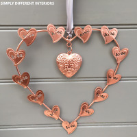 Copper Colour Tin Love Heart Grey Ribbon,Wall Hanging,Wedding,Home Decoration