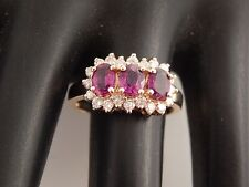 1.92 tcw 3 stone AA+ Mogok Ruby & Diamond Halo G/VS2 Ring 14k YG Engagement