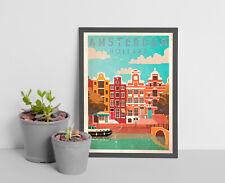 Vintage Travel Amsterdam Holland Travel Poster,vintage travel poster print A4.A1