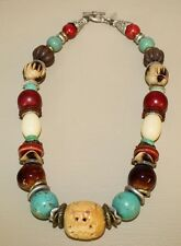 Coldwater Creek Womens Necklace Runway Dragon Chunky Stone Bead Etched VGC