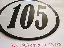 Hausnummer Oval Emaille  schwarze Nr. 105 weißer Hintergrund 19 cm x 15 cm
