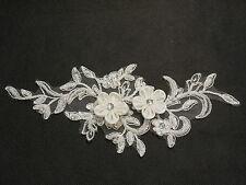Light Ivory sequins beads bridal wedding floral lace Applique / shoes lace motif