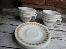 Vintage Set 8 Corelle Butterfly Gold Hook Handle Tea Cups/Mugs 70's 6 saucers