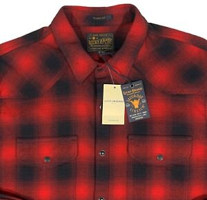 Men's LUCKY BRAND Red Black Plaid Flannel Western Shirt XL X-Large NWT NEW NiCe!