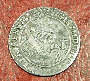 POLAND SILVER 1/4 THALER (ORT) 1621 ~ KING SIGISMUND III ~ NICE PORTRAIT