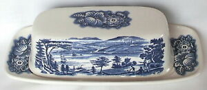 Staffordshire Liberty Blue Covered Butter Dish Lafayette Landing @ West Point