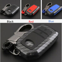 Carbon Fiber Shell+Silicone Cover Remote Key Holder Fob Case For Toyota 2 Button