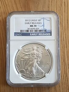 2012 1oz silver american eagle bullion coin 0.999 MS 70. Early Release. Mint