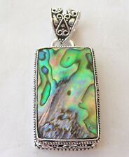 handmade .925 sterling silver designer antique pendant in abalone shell
