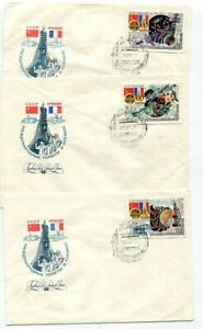 D188836 Interkosmos Spacecover Russia 1982 USSR - France Set of FDC's