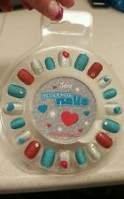Justice girl's 20 press on red blue & silver glitter nails NWT