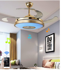 "42"" Ceiling Fan Light w/ Bluetooth Speaker Remote LED 7-color Dimming Chandelier"