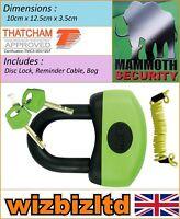 Motorbike Scooter Mammoth Thatcham Approved Mini U-Disc Lock 13mm LODM006