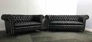 Chesterfield 3+2 Seater Sofa In Black Genuine Leather (Brand New)