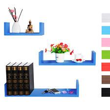 Lot de 3 étagères murale en MDF étagère CD DVD murale Bleu Foncé FRG9239dbl