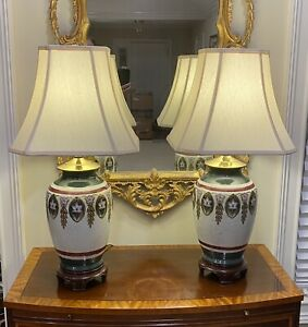 Pair of Large, Stately Porcelain or Ceramic Oriental Style Table Lamps: Reliance