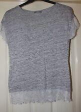 Zara Grey Linen Boho Top Size 10 12