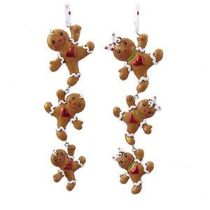 Set/2 Kurt Adler Gingerbread Cookie Chain Boy Grl Christmas Tree Ornaments Decor
