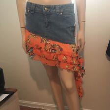 XOXO asymmetrical denim ruffle mini skirt 5/6  NWT