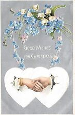 Christmas~Clasped Hands Thru Paper Hearts~Lily Valley~Forget-Me-Nots~Silver Back