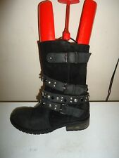 BLACK SUEDE LEATHER STUDDED BIKER BOOTS - UK 7