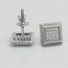 Dg Men's Sterling Silver 925.Iced Out 9mm Cz Hip hop Square*Earring Unisex-Box