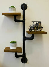 Industrial Pipe & 3 Wooden Shelves Unit Wall Mounted Display Unique Decor Shelf