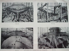 ANTIQUE PRINT 1926 SHIPBUILDING STAGES IN THE CONSTRUCTION OF A WARSHIP PHOTOS