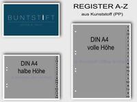 DIN A4 Buchstabenregister A-Z Kunststoff Register für Ordner in Grau 20-teilig