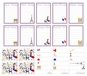 Planner, bullet journal, diary, scrapbooking stickers with Paris French theme