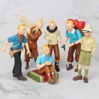 6x Les aventures de Tintin PVC Figurine Set Jouets Poupée Topper Gâteau Cadeau