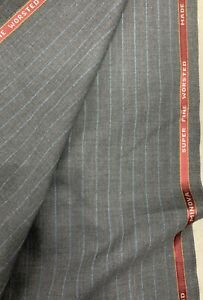 3.5 Metres Grey & Blue Stripe 100% Wool Suit Fabric By Minova (300g)