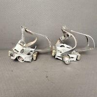 Vintage Platform Pedals w/ Christophe Toe Clips Straps CatEye RR-0217 Reflectors