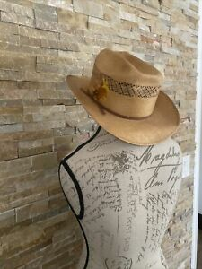 "BAILEY UROLLIT Straw Western Hat Brown Ribbon/  Feather Sz.7  13x12"""