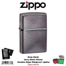 Zippo Gray Dusk Lighter, Matte Finish, USA Genuine Windproof #28378