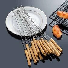 BBQ Stainless Sticks Grilling Skewers,Wooden Handle ,Set of 10