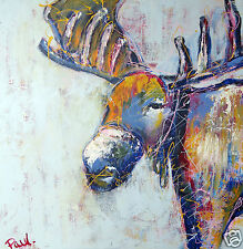 "modern Print moose stag elk street art urban painting abstract poster 24"" x 24"""