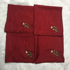 Bundle Of 4 Red Polyester Napkins Berry Napkins Used